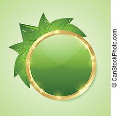 gouden, groene, plaque