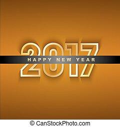 gouden, groet, jaar, nieuw, 2017, kaart