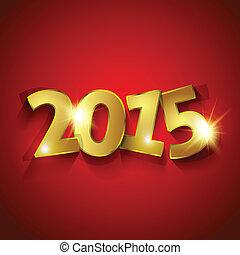 gouden, groet, rode achtergrond, jaar, 2015, kaart