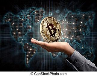 gouden, handen, zijn, bitcoin, mensen