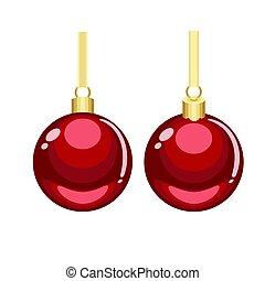 gouden, hangend, rood, versieringen, kerstmis