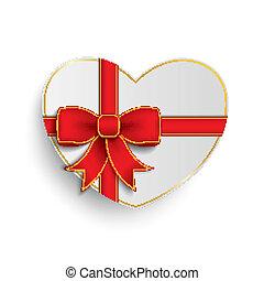 gouden, hart, kruis, papier, rood lint