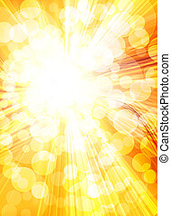 gouden, helder, achtergrond, zon