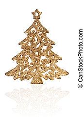 gouden, helder, boompje, kerstmis