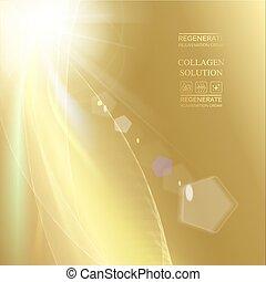 gouden, helling, zon, op, achtergrond., beeld, het glanzen, bovenzijde, straal