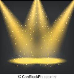 gouden, het glanzen, schijnwerpers, achtergrond, transparant