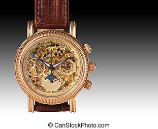 gouden, horloge, mechanisme, macro, detail.