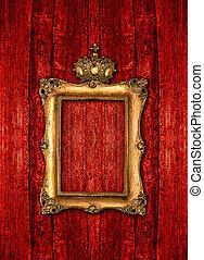 gouden, houten, op, achtergrond, barok, frame, rood