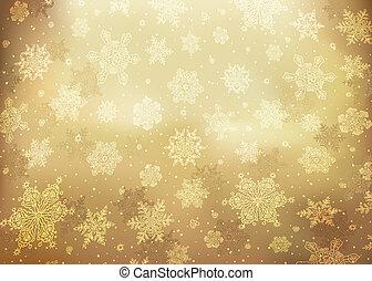 gouden, illustratie, abstract, eps10., achtergrond., vector, kerstmis