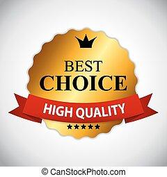 gouden, illustratie, keuze, vector, lint, etiket, best
