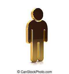 gouden, illustratie, vertolking, year., 3d, man