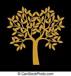 gouden, illustration., boompje, achtergrond., vector, black