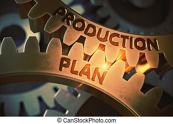 gouden, illustration., concept., fabriekshal, plan, gears., 3d