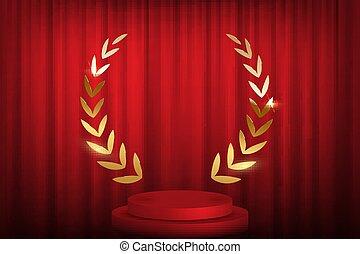 gouden, illustration., podium, voorkant, op, laurier, vector, rood, ronde, curtains., krans, stappen
