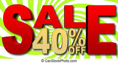 gouden, illustration., -, procent, 40, verkoop, achtergrond, groene, illustratie, witte , liggen, van, rood, 3d