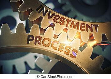 gouden, illustration., proces, cogwheels., investering, 3d