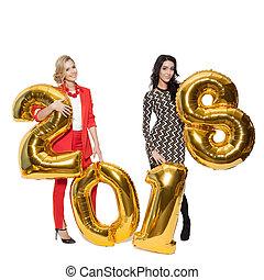 gouden, isolated., groot, huwen, het charmeren, 2018., year., getallen, vasthouden, kerstmis., nieuw, vrouwen, vrolijke
