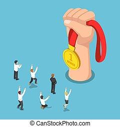 gouden, isometric, zakenlui, grote hand, vieren, voorkant, medaille