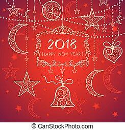 gouden, jaar, groet, versiering, kaart, hangend, nieuw, rood, 2018