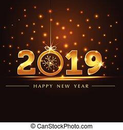 gouden, jaar, presentatie, kaart, 2019