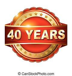 gouden, jubileum, 40, jaren, etiket, lint