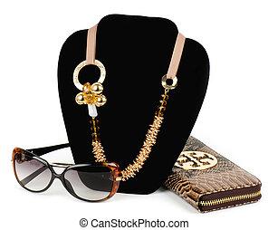 gouden, juwelen, bril, en, handtas