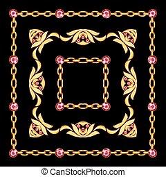 gouden, juwelen, ketting, frame, zwarte achtergrond
