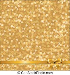 gouden, kaart, met, lint