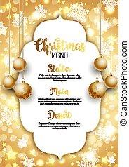 gouden, kerst baubles, achtergrond, hangend