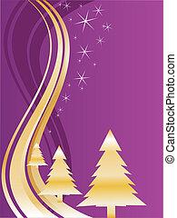 gouden, kerstbomen