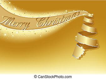 gouden, kerstboom