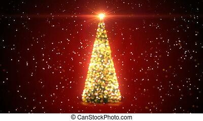 gouden, kerstboom, met, opvlammende lichten, ronddraaien, op, sneeuwval, in, defocused, verdoezelen, bokeh, op, rood, achtergrond., looped, 3d, animation., zalige kerst, en, gelukkig nieuwjaar, concept., 4k, ultra, hd, 3840x2160