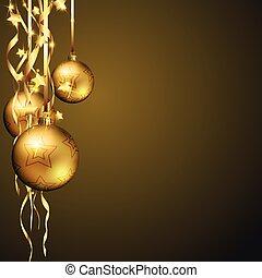 gouden, kerstmis, achtergrond, baubles