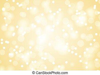 gouden, kerstmis, achtergrond, lichten