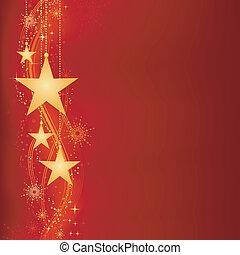 gouden, kerstmis, achtergrond, rood
