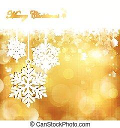 gouden, kerstmis, achtergrond, sneeuwvlok