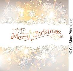 gouden, kerstmis, achtergrond, snowflakes