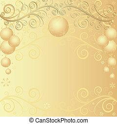 gouden, kerstmis, achtergrond