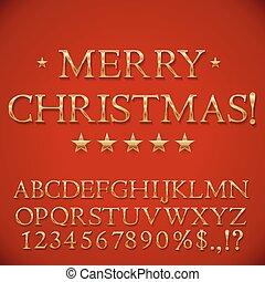 gouden, kerstmis, alfabet
