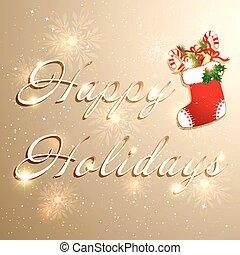 gouden, kerstmis, feestdagen, achtergrond
