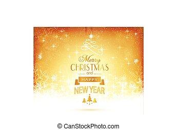 gouden, kerstmis, typografie, sterretjes, lichten