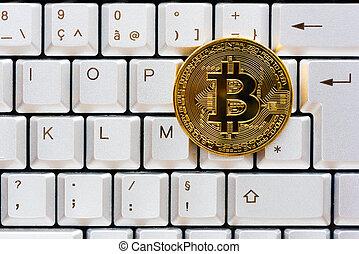 gouden, kleur, bitcoin, op, een, computer toetsenbord