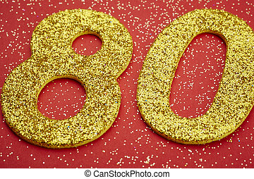 gouden, kleur, op, tachtig, getal, jubileum, achtergrond.,...