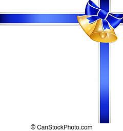 gouden, klok, en blauw, ribbon.