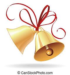 gouden, klok, kerstmis, trouwfeest, boog, of, rood