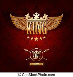gouden, koningin, kroon, koning