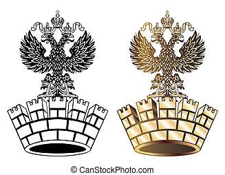 gouden, koninklijke kroon, vrijstaand, achtergrond, witte