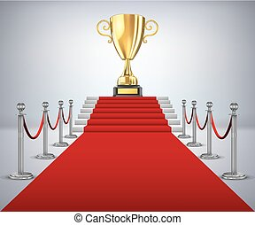 gouden kop, winnaar, steegjes, rood tapijt