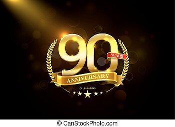 gouden, krans, jubileum, jaren, 90, laurier, lint