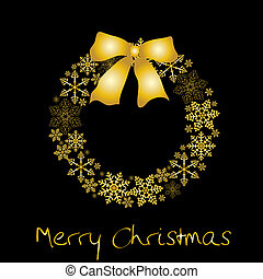 gouden, krans, kerstmis, boog